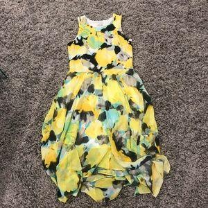 Yellow flowy watercolor dress